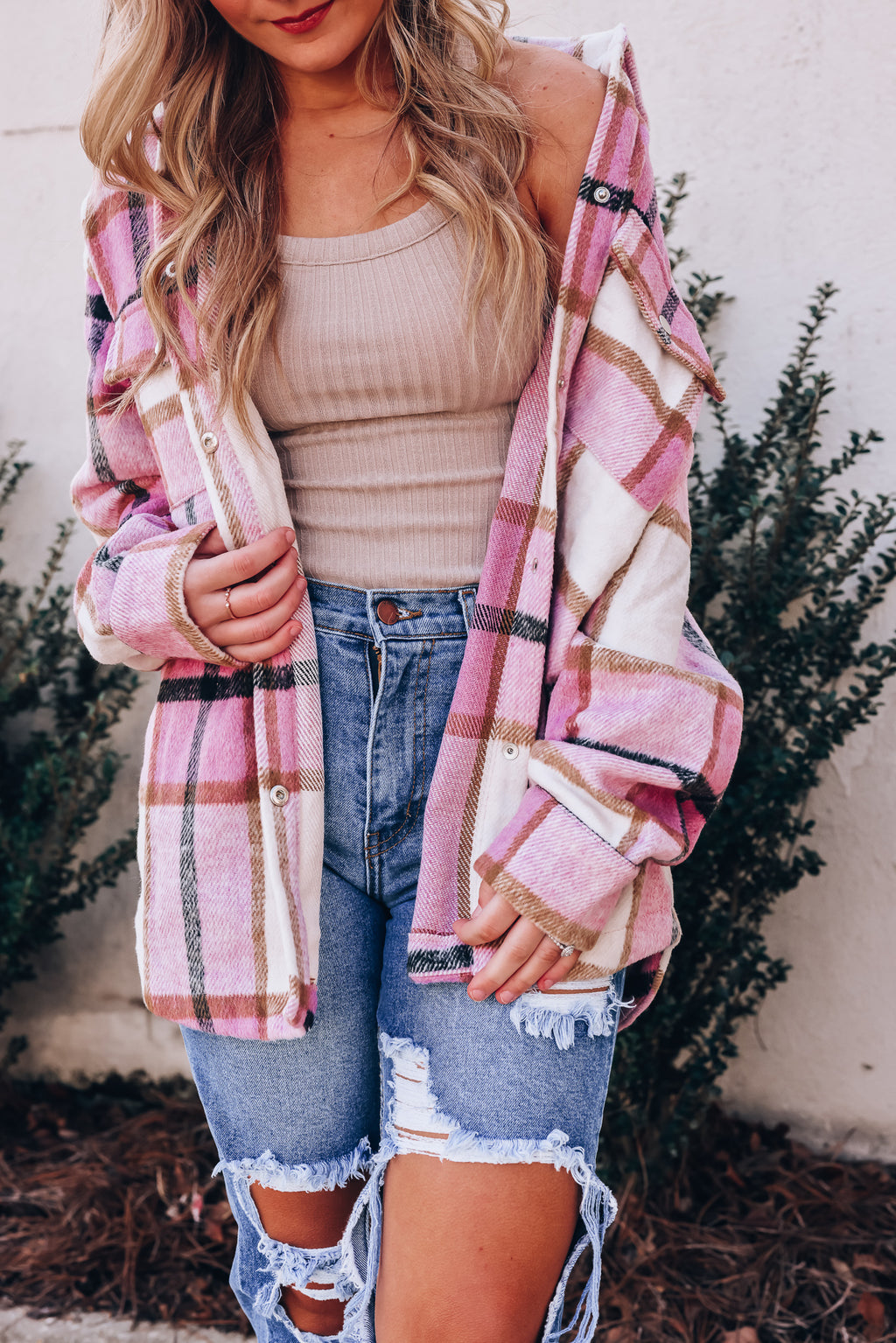 With Love Plaid Shacket (Pink)