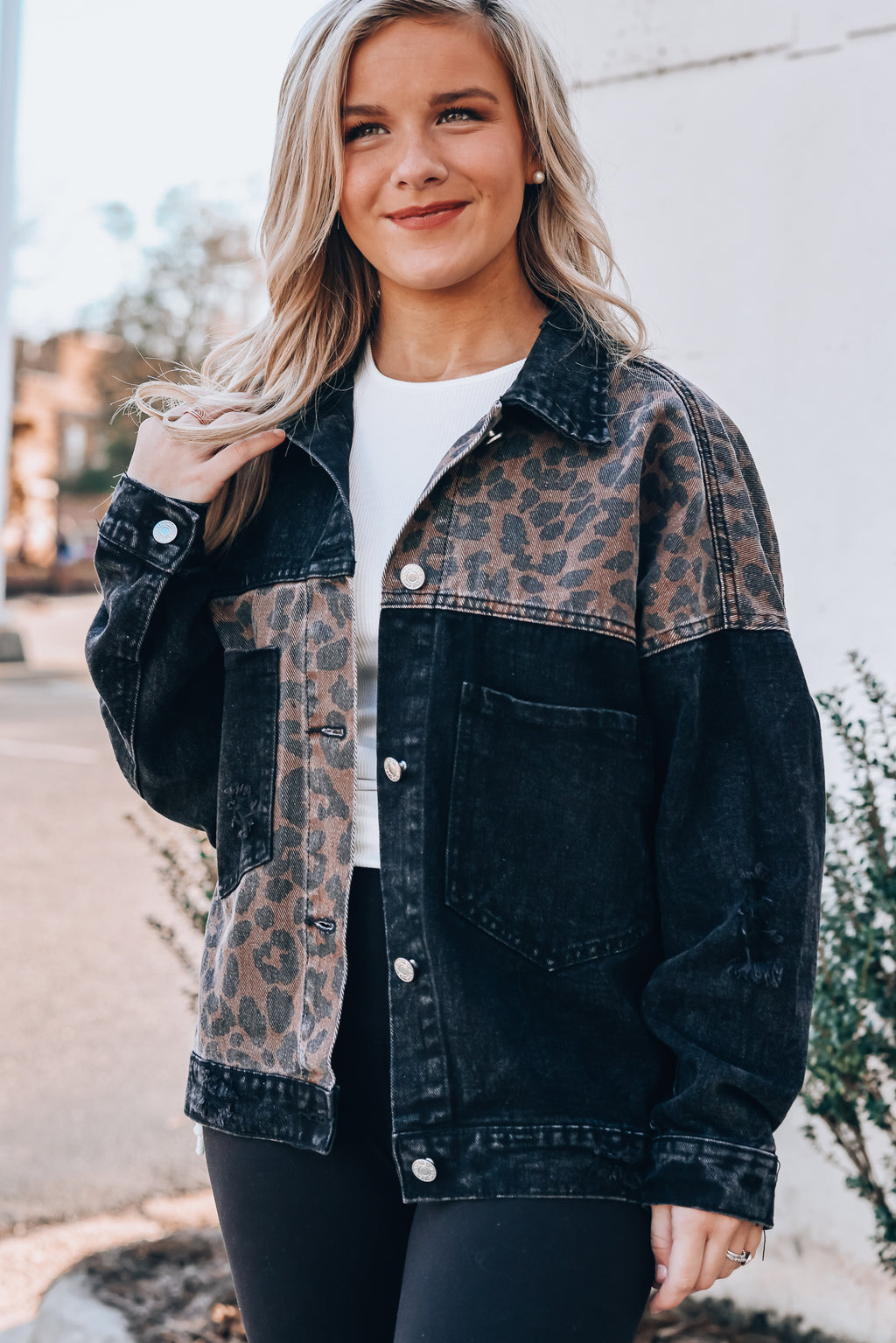 Celia Leopard Denim Jacket