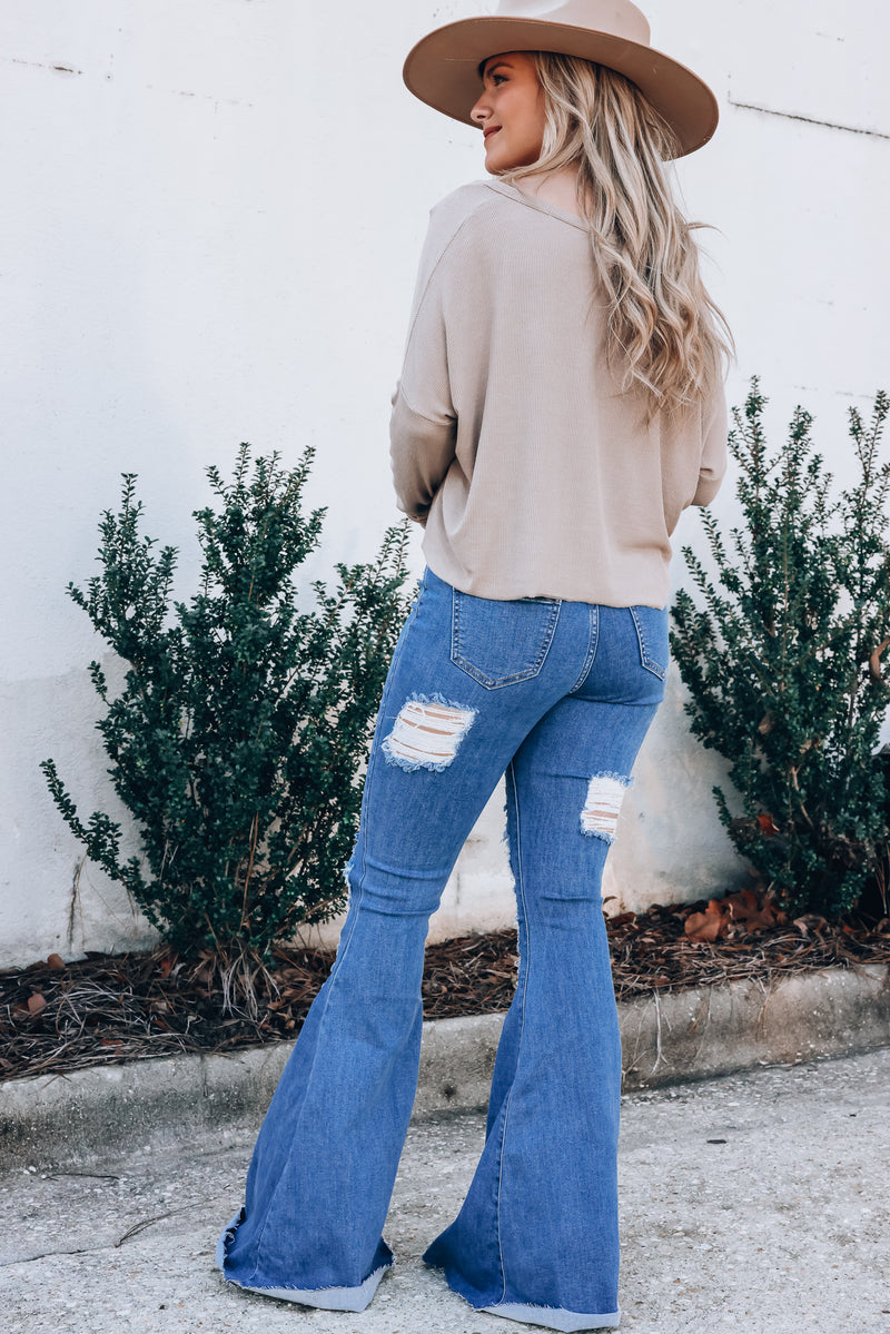 Paige Distressed Bell Bottoms (Light Wash)