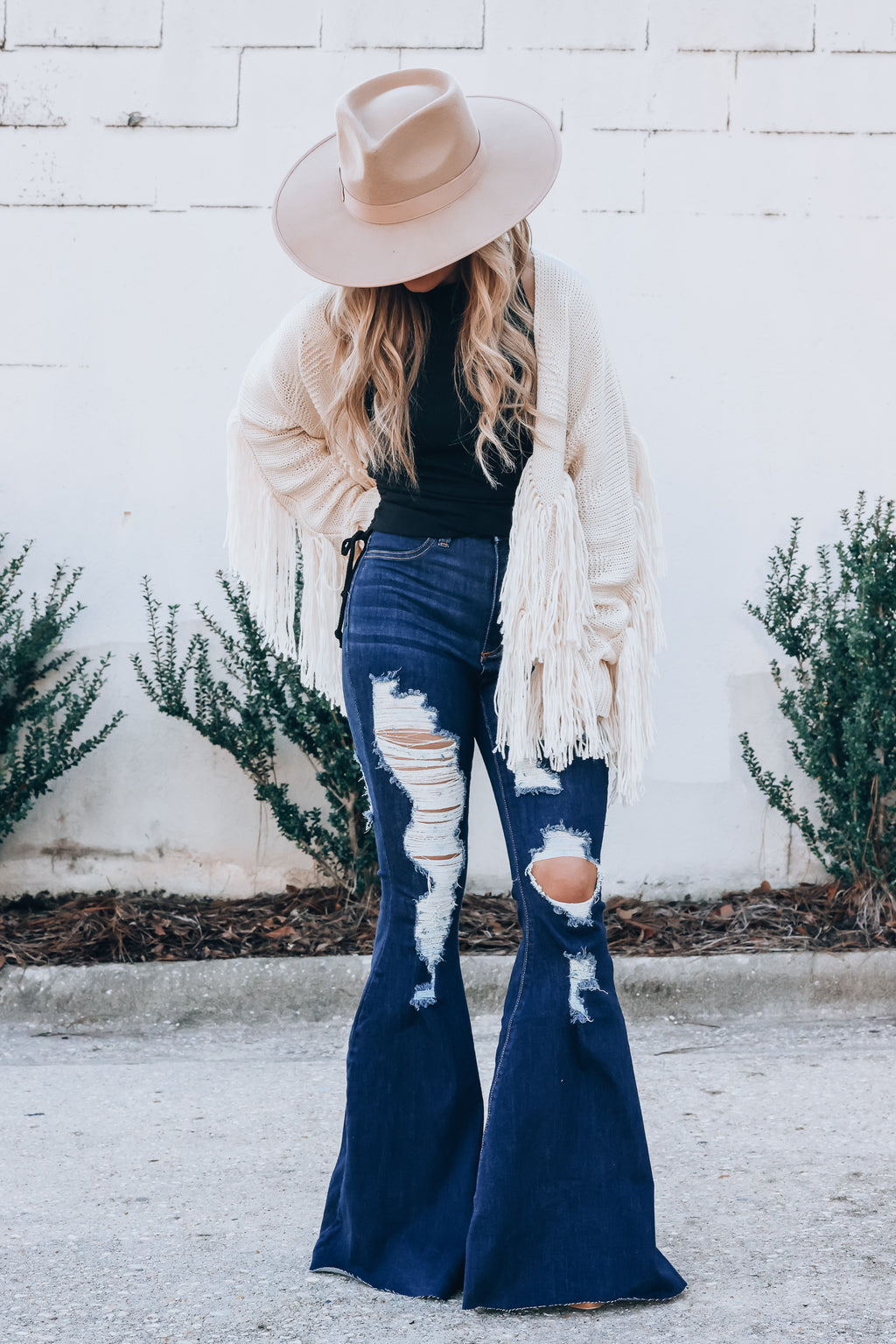 Paige Distressed Bell Bottoms (Dark Wash) PRE-ORDER Ships Late January