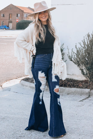 Paige Distressed Bell Bottoms (Dark Wash)
