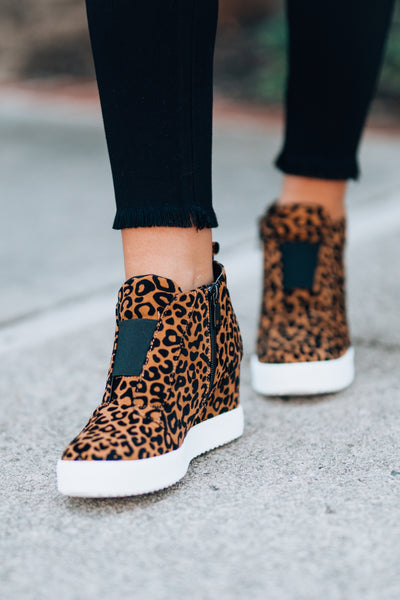 On The Go Sneaker Wedges (Leopard) - FINAL SALE