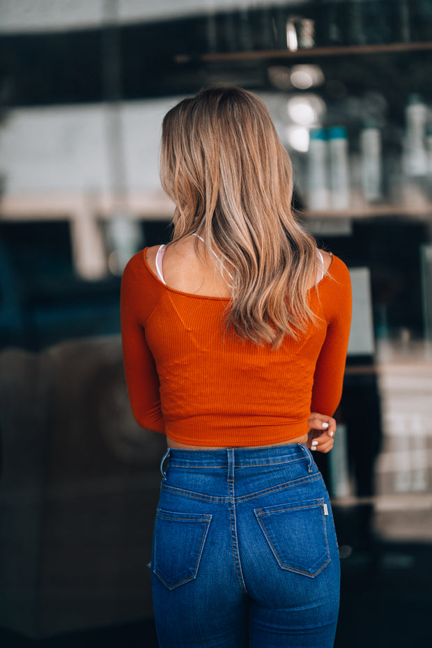 Tiana Twist Crop Top (Pumpkin) - FINAL SALE