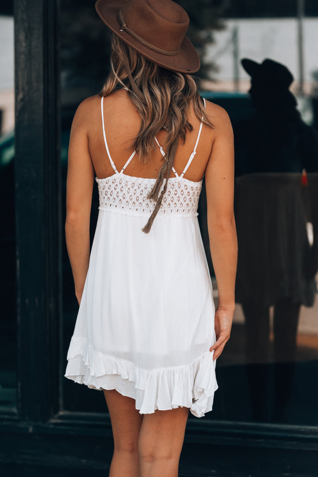Lost In Paradise Mini Dress (White)