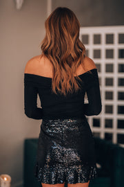 Dance All Night Sequin Skirt (Black)
