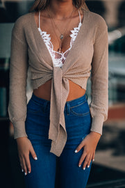 Tied Up Sweater Cardigan (Taupe)