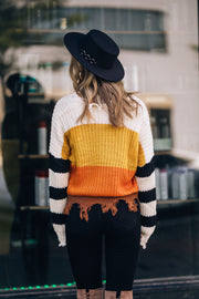 Fall Vibes Frayed Sweater