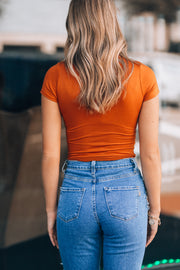 Basic V Neck Bodysuit (Pumpkin)