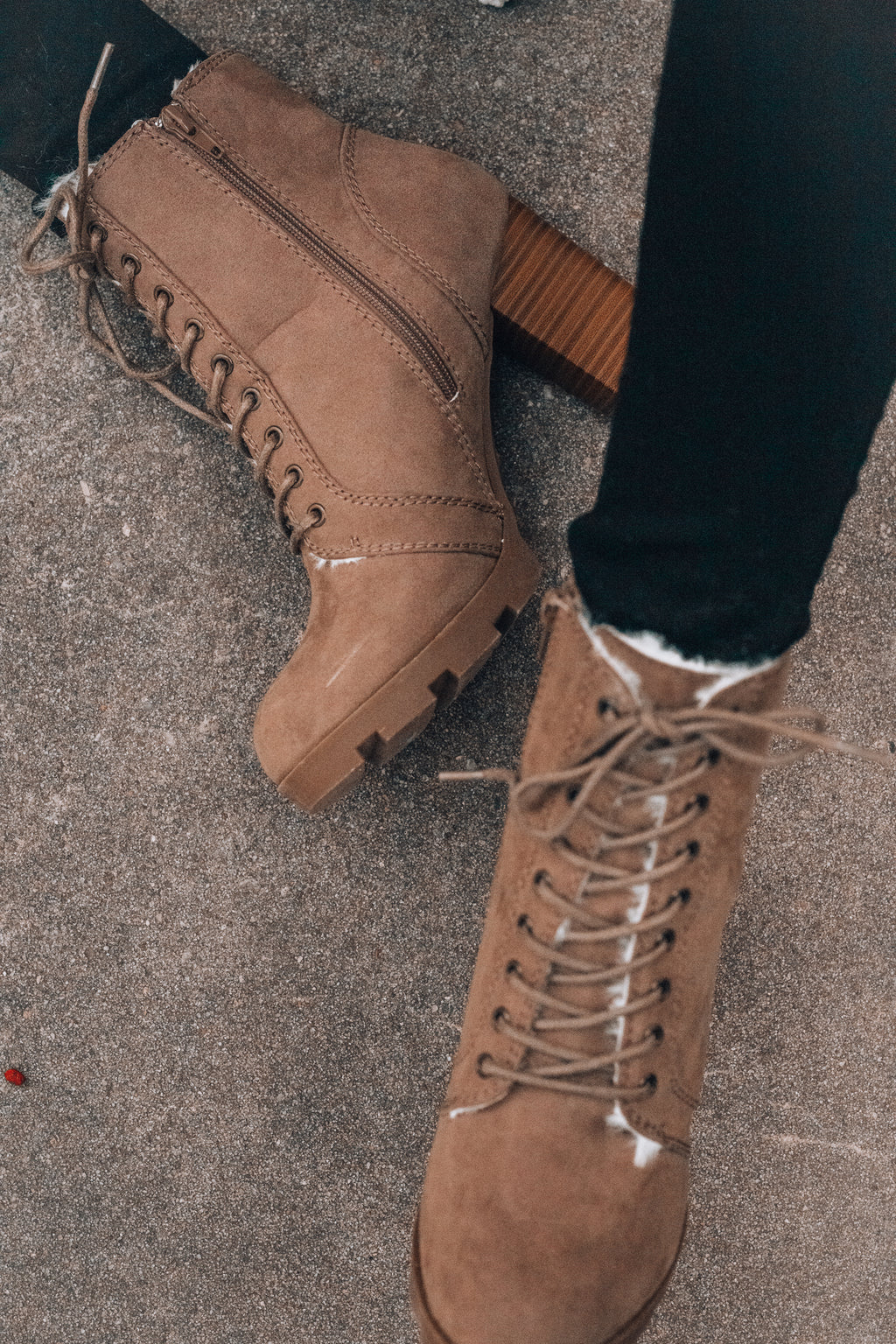 Fuzzy Feels Lace Up Boots - FINAL SALE