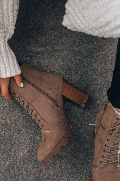 Fuzzy Feels Lace Up Boots