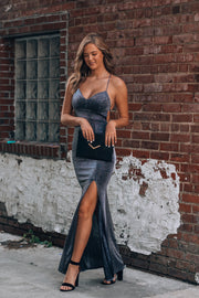 All Eyes On You Glitter Gown (Steel)
