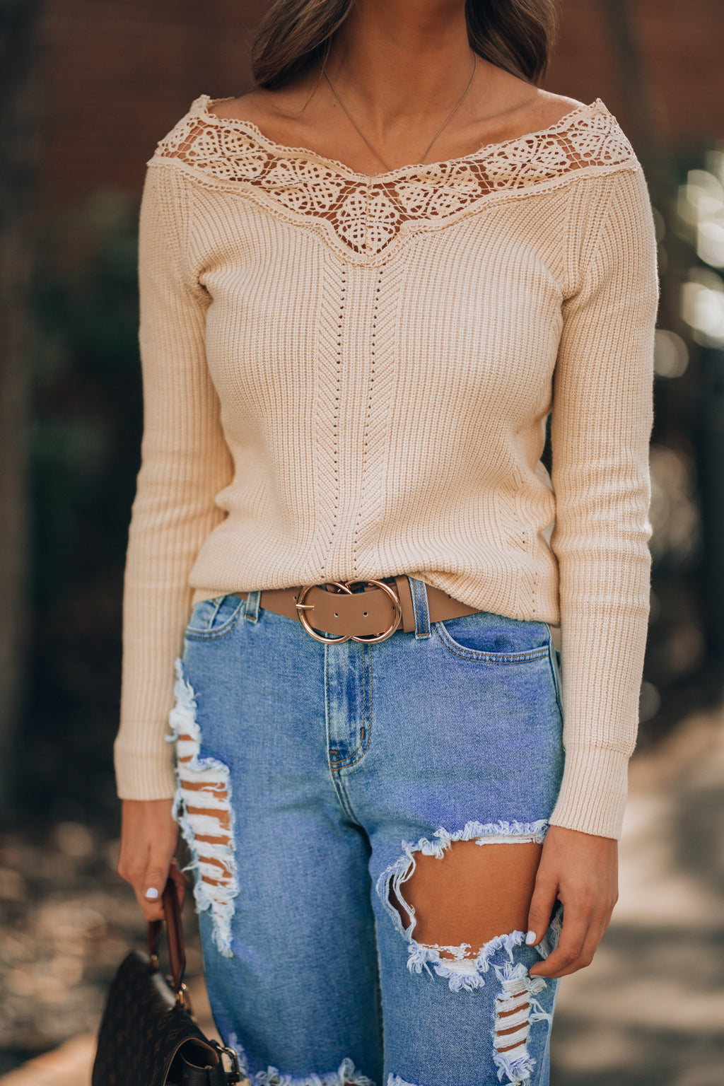 Cozy Up Lace Trim Sweater (Cream)