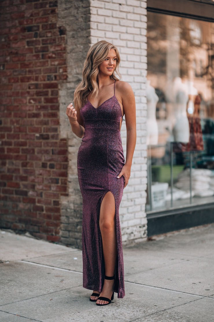 All Eyes On You Glitter Gown (Purple)