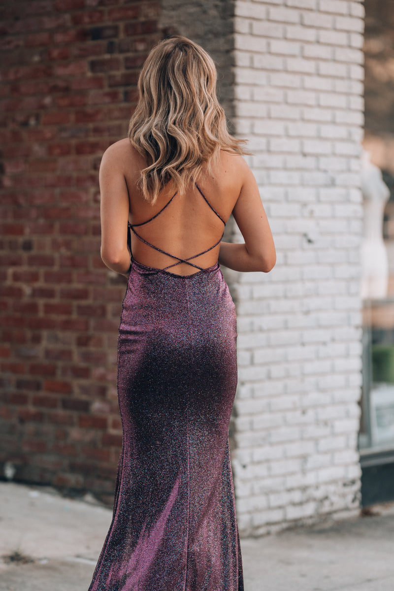 All Eyes On You Glitter Gown (Purple) - FINAL SALE