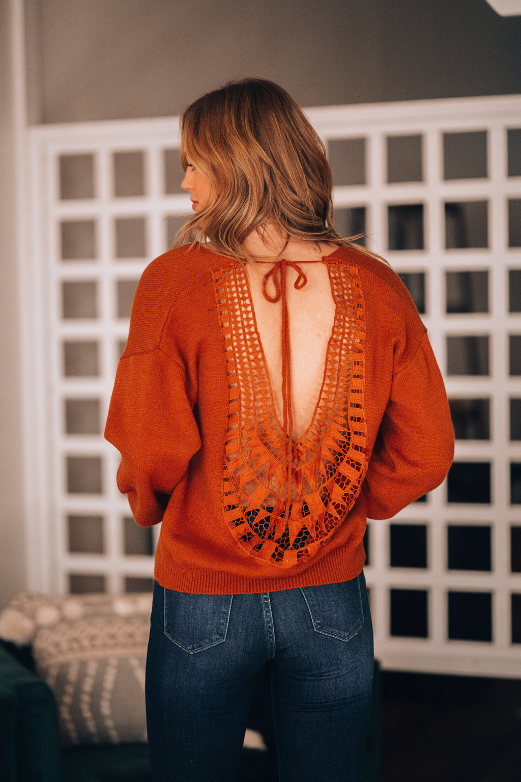 Rising Sun Crochet Sweater (Rust) - FINAL SALE