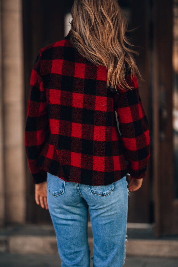 Plaid To Meet You 1/4 Zip Pullover (Red)
