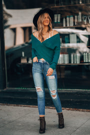 Cross My Heart Sweater (Teal)
