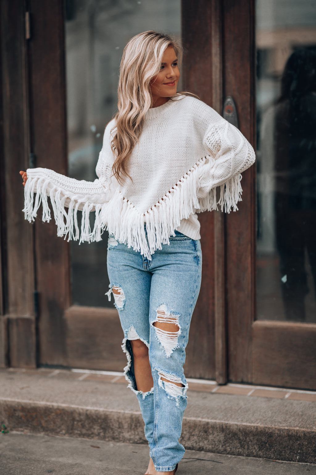 Let It Snow Fringe Sweater (Off White)