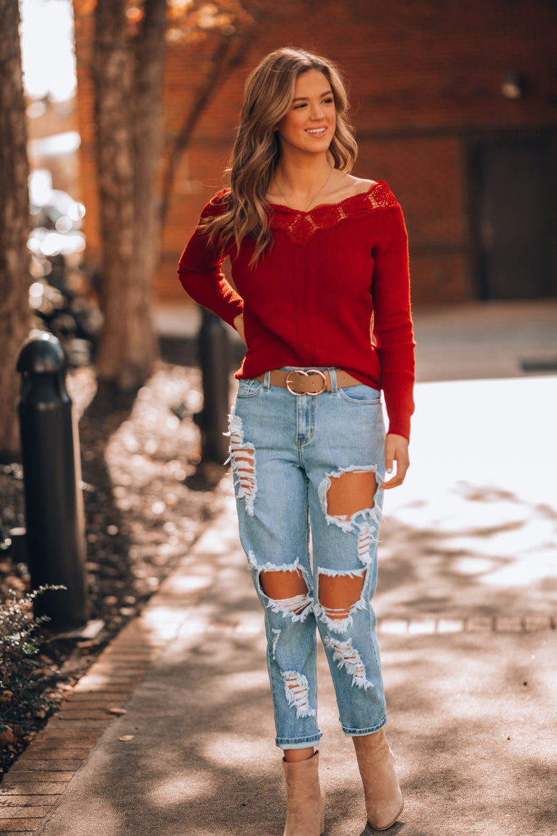 Cozy Up Lace Trim Sweater (Red)