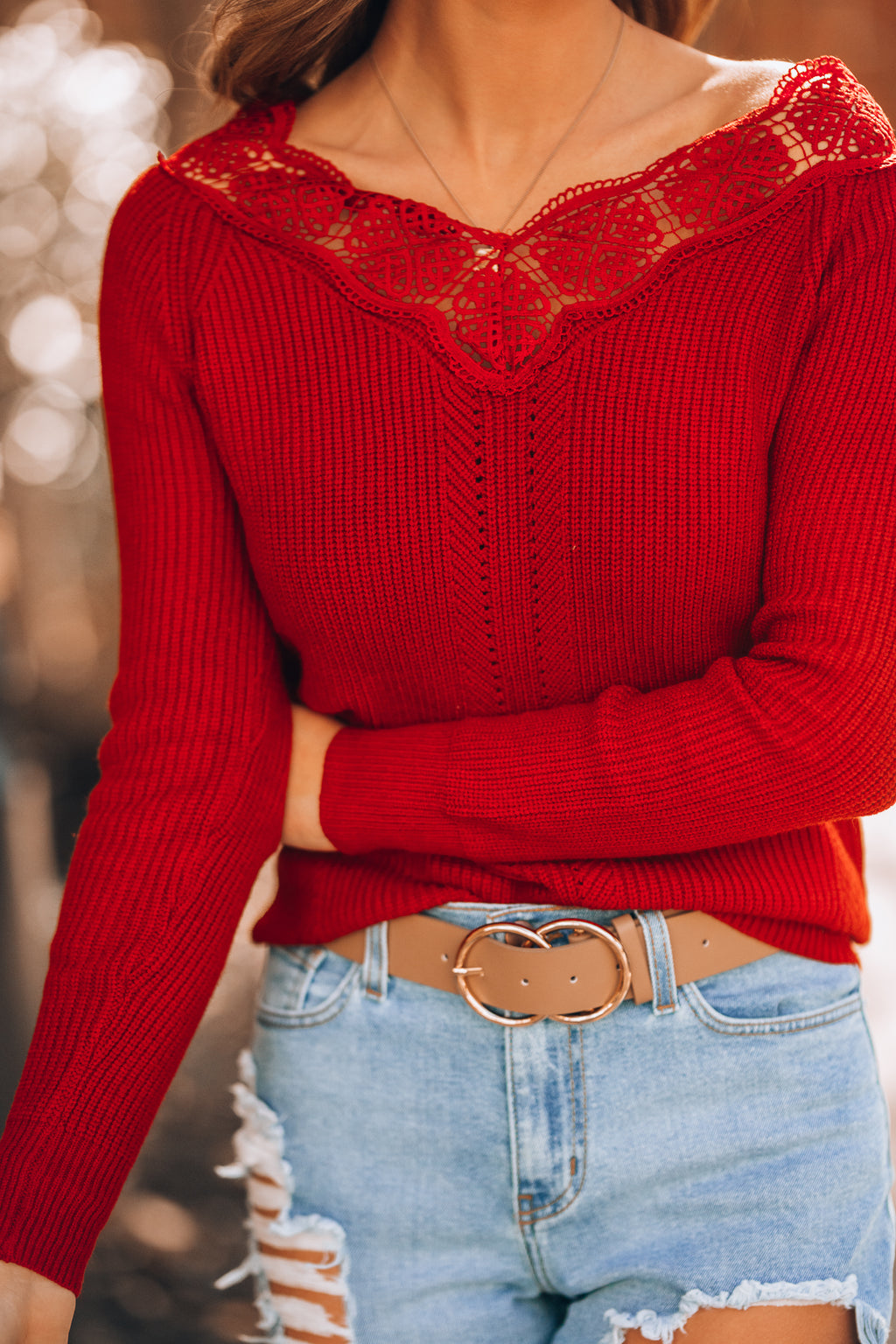 Cozy Up Lace Trim Sweater (Red) - FINAL SALE