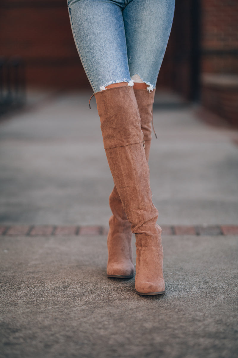 Shelly OTK Boots (Taupe)
