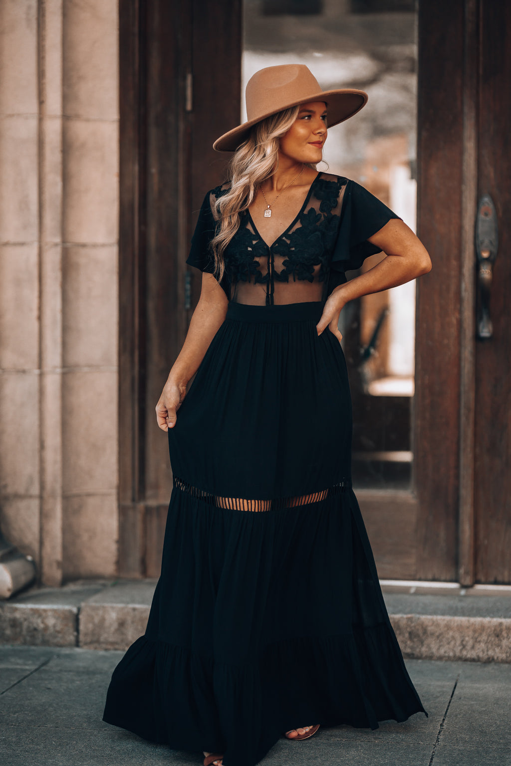 Skylar Embroidered Maxi Dress (Black)