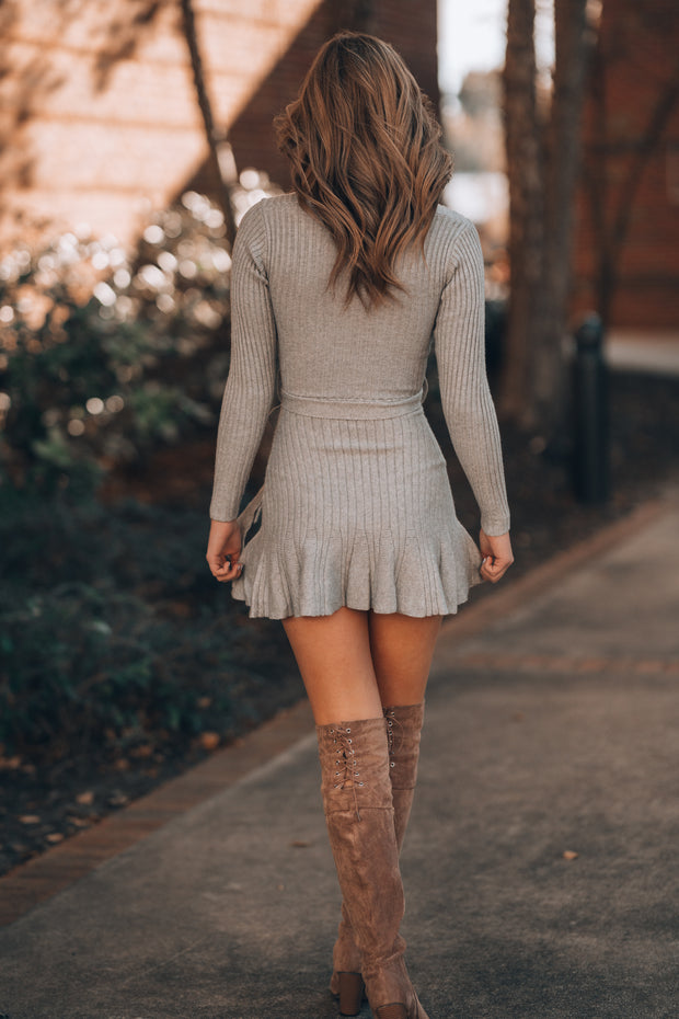 Snowflakes Sweater Dress (Grey)