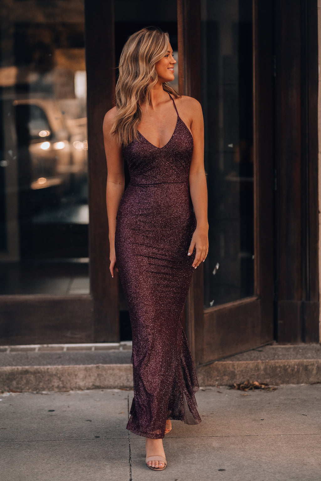 This Is Love Glitter Gown (Merlot)