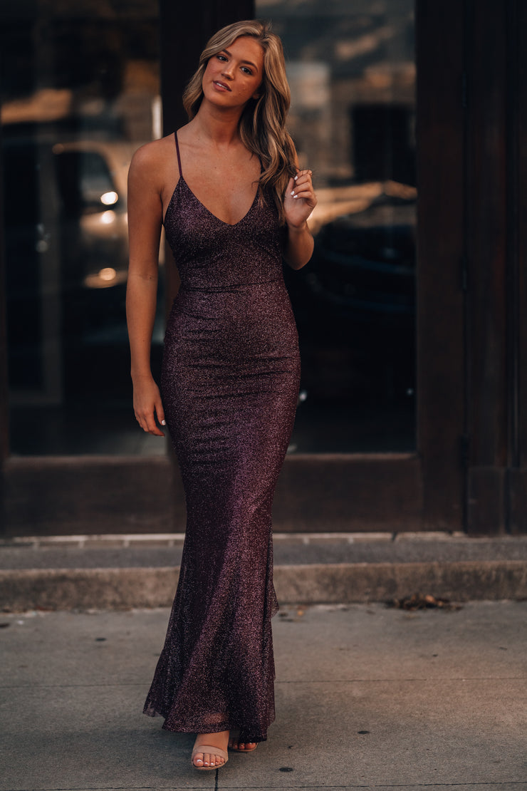 This Is Love Glitter Gown (Merlot) PRE-ORDER Ships Late November