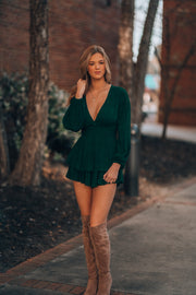 Mistletoe Plaid Romper (Forest)