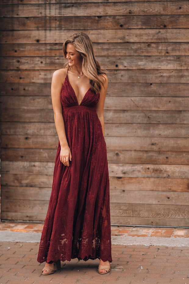 Summer Nights Lace Gown (Wine)