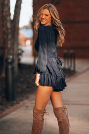 Mistletoe Plaid Romper (Navy)
