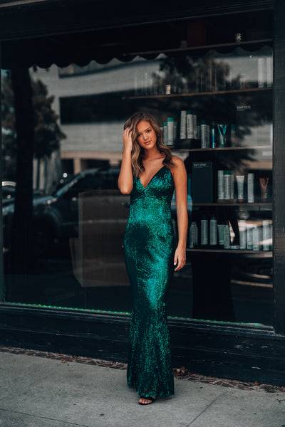 Stardust Sequin Gown (Emerald)
