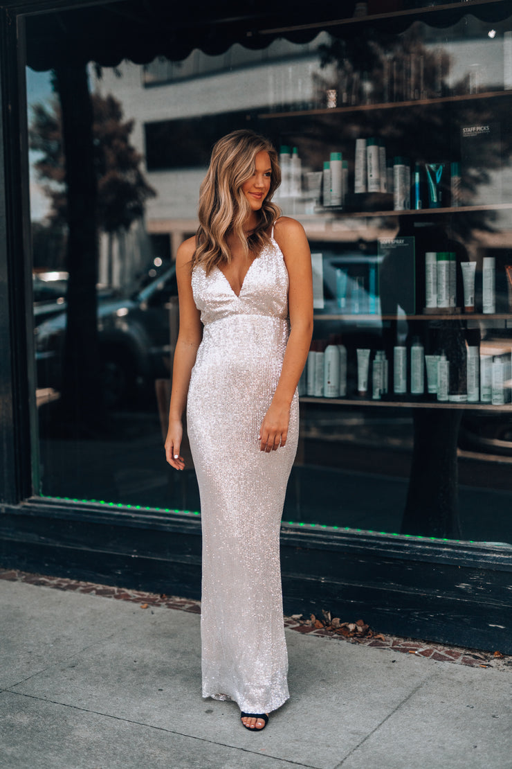 Stardust Sequin Gown (Nude/Silver)