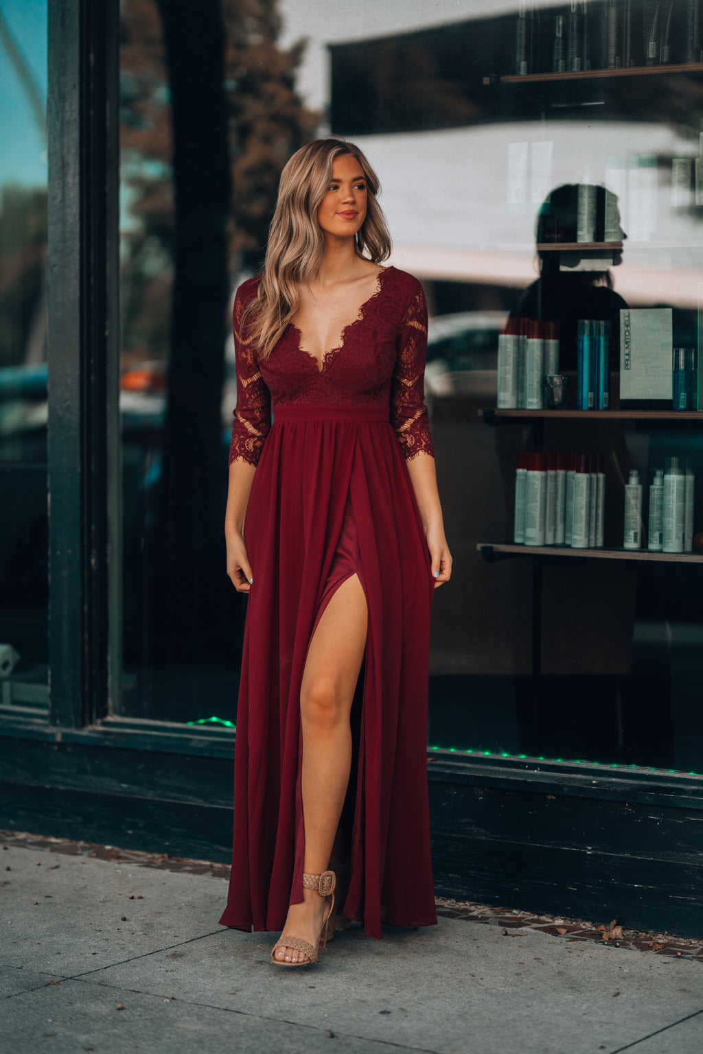 By Your Side Lace Gown (Wine)