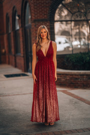 Everywhere She Goes Ombre Gown (Wine)