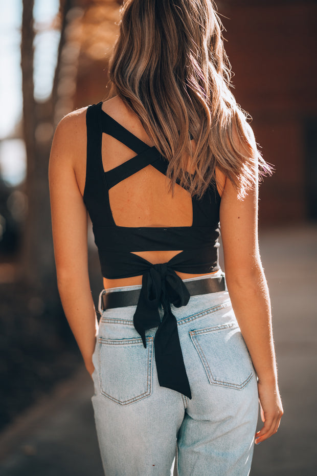 Here Comes Trouble Crop Top (Black)