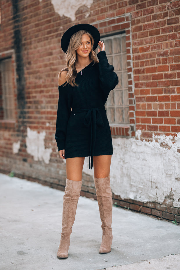 Off Shoulder Sweater Dress (Black)