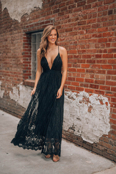 Summer Nights Lace Gown (Black)