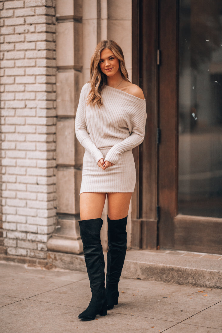 Avery Ribbed Sweater Dress (Oatmeal)