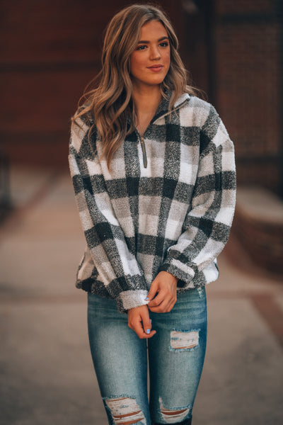 Plaid To Meet You 1/4 Zip Pullover (Black/White)