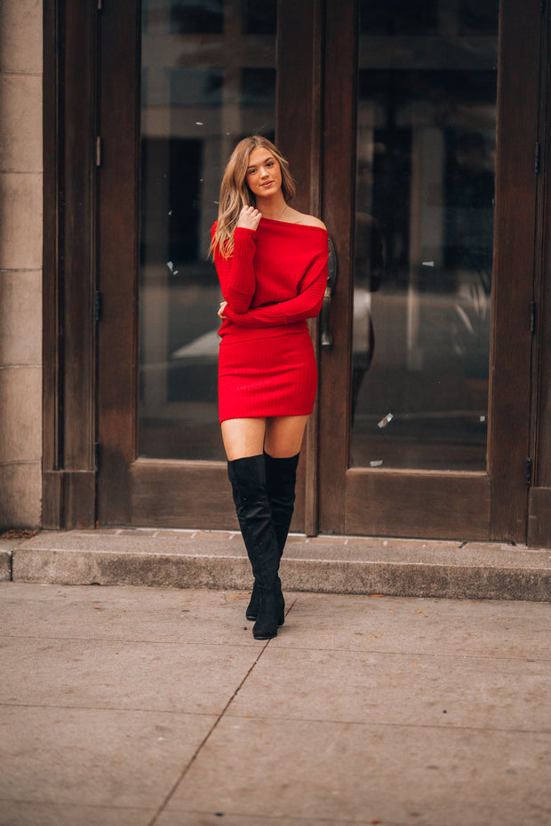 Avery Ribbed Sweater Dress (Red)