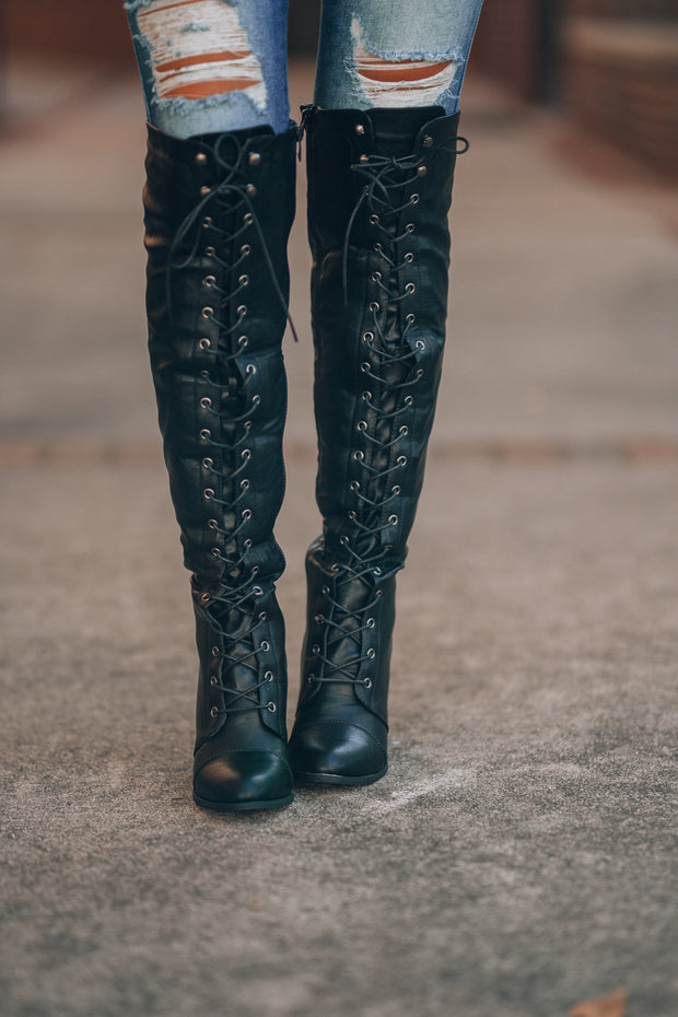 Tessa Lace Up Boots (Black)