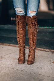 Tessa Lace Up Boots (Tan)