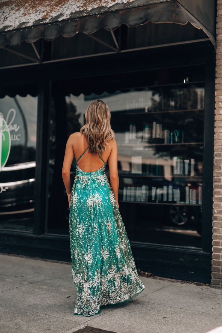 Moments Like These Glitter Gown (Teal) - FINAL SALE