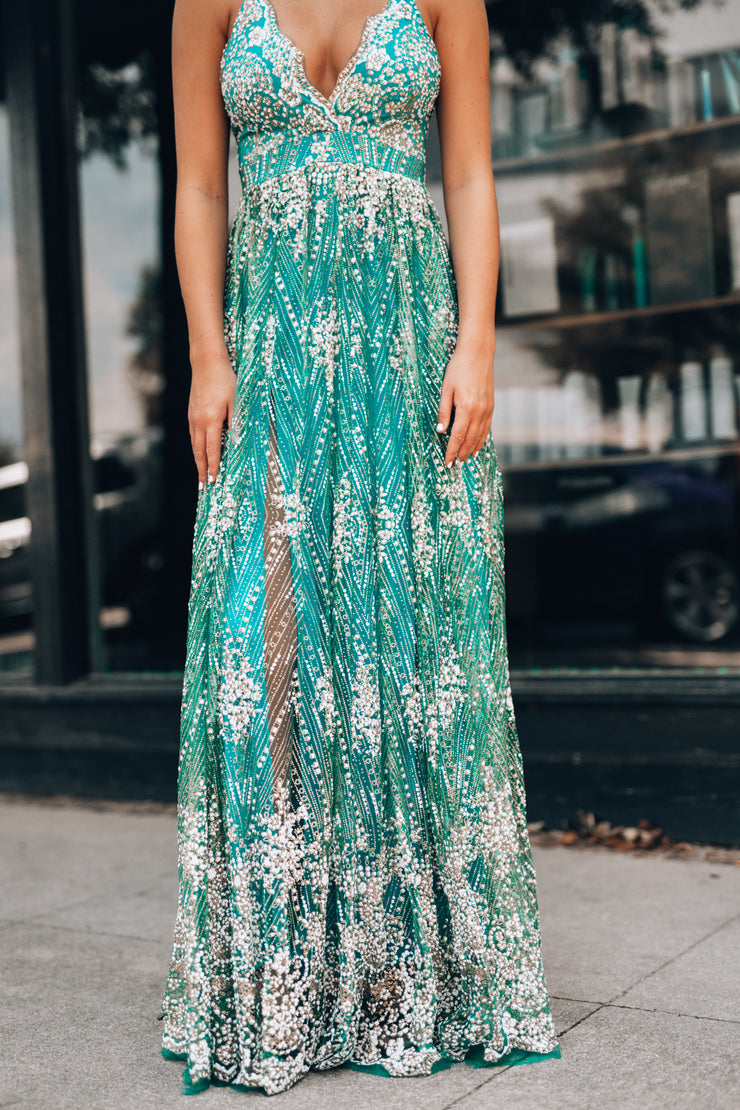 Moments Like These Glitter Gown (Teal)