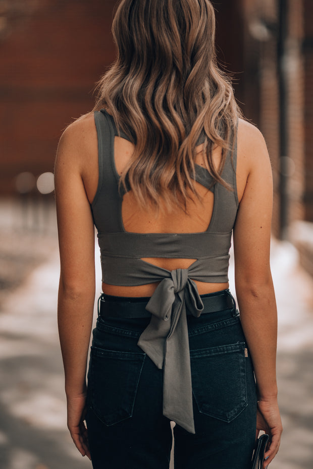 Here Comes Trouble Crop Top (Olive)