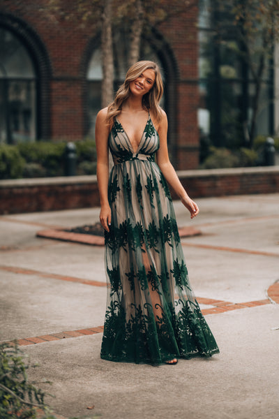All My Love Maxi Gown (Forest/Nude)