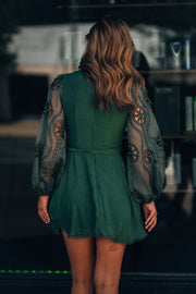 Only For You Eyelet Mini Dress (Forest) - FINAL SALE
