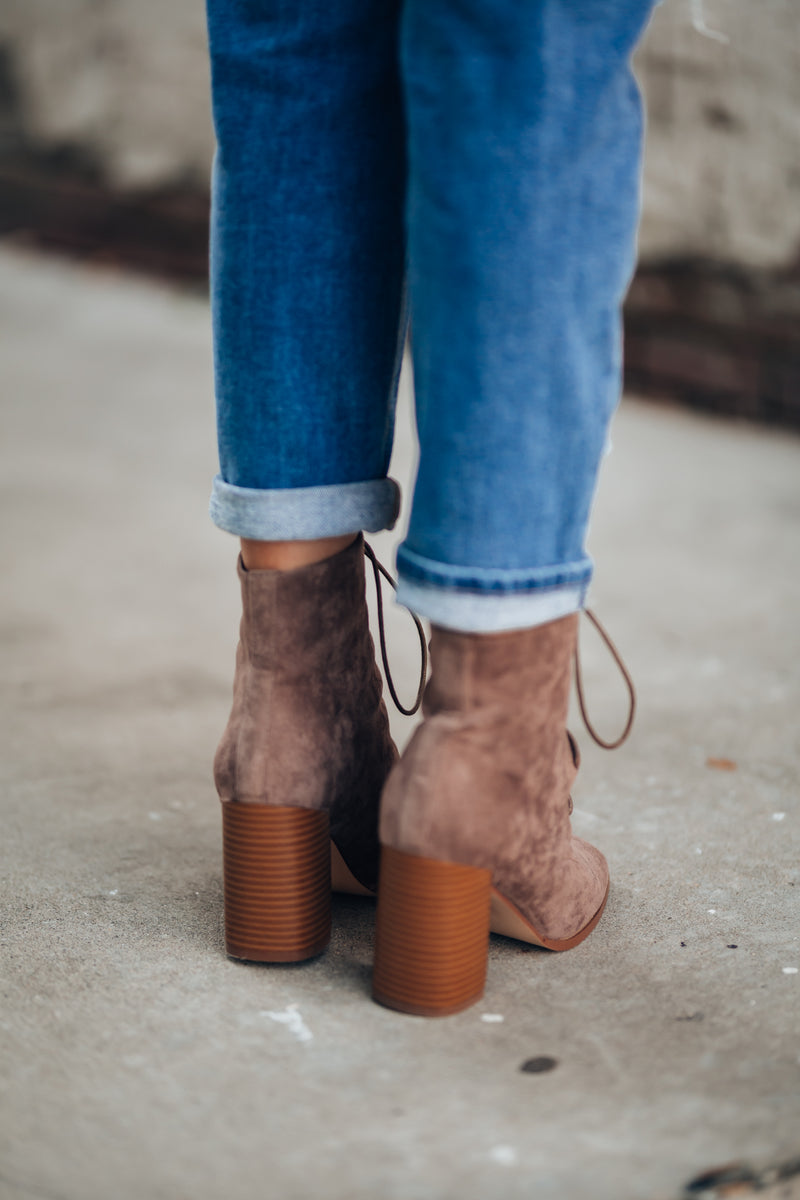 Autumn Lace Up Booties (Taupe) - FINAL SALE